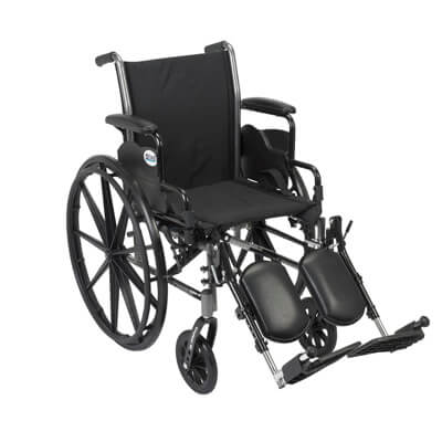 Drive Medical Cruiser III Light Weight Wheelchair with Flip Back Removable Desk Arms and Elevating Leg Rest Model k316dda-elr