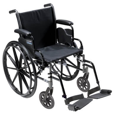 Drive Medical Cruiser III Light Weight Wheelchair with Flip Back Removable Desk Arms and Swing Away Footrest k318dda-sf