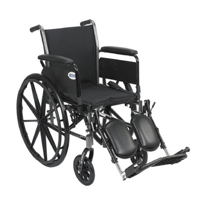 Drive Medical Cruiser III Light Weight Wheelchair with Flip Back Removable Full Arms and Elevating Leg Rest Model k318dfa-elr
