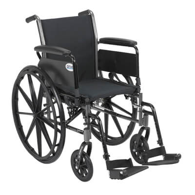Drive Medical Cruiser III Light Weight Wheelchair with Flip Back Removable Full Arms and Swing Away Footrest Model k320dfa-sf