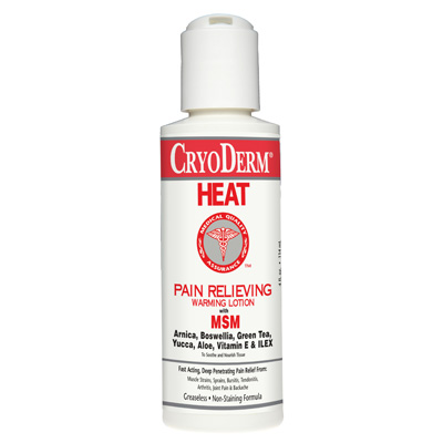 Cryoderm Heat Pain Relief Warming Lotion 4 oz - 6 pack