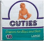 Cuties Baby Diapers, Large 22-35 Lbs - 72 cs (4x18ea)