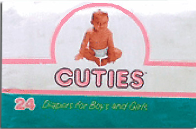 Cuties Baby Diapers, Medium 12-24 Lbs - 96 cs (4x24ea)