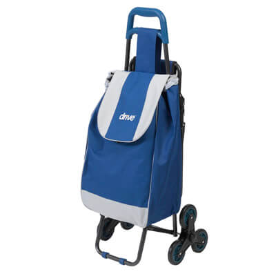 Deluxe Rolling Shopping Cart with Seat, Blue - Model 607BL