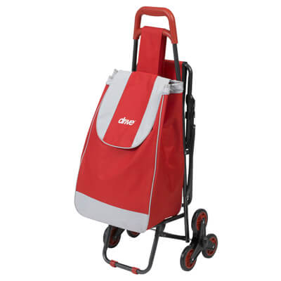 6f40c3dc17ec Drive Medical Deluxe Rolling Shopping Cart with Seat, Red - Model 607R