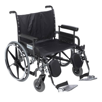 Drive Medical Deluxe Sentra Heavy Duty Extra Extra Wide Wheelchair With Detachable Full Arm and Elevating Leg Rests, 26 in Seat