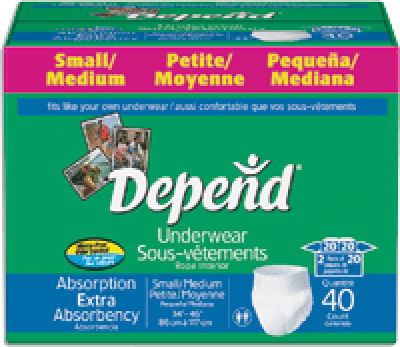 "Depend Protective Underwear, Small/Medium, Waist 28-40"" - 40 ea - 40 ea"