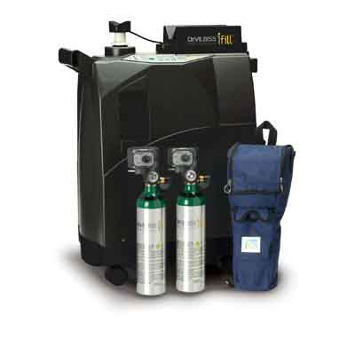 DeVilbiss Healthcare iFill Personal Oxygen Station, Carrying Case, 2 D PD1000 Cylinders 535d-2dp