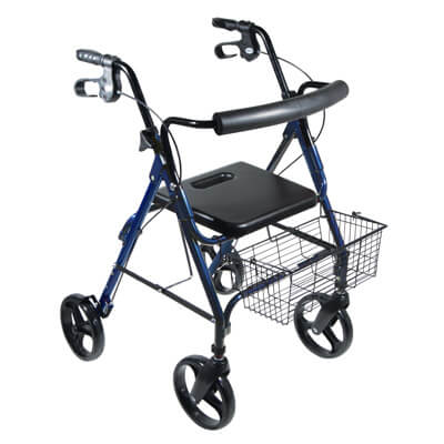 Drive Medical DLite Blue Rollator Walker with 8 inch Wheels and Loop Brakes 750nb