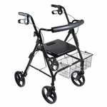 Drive Medical DLite Midnight Black Rollator Walker with 8 inch Wheels and Loop Brakes 750nbk