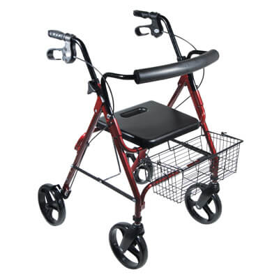 Drive Medical DLite Red Rollator Walker with 8 inch Wheels and Loop Brakes 750nr