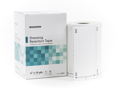 Dressing Retention Tape McKesson NonWoven Fabric / Printed Release Paper 4 Inch X 10 Yard White NonSterile