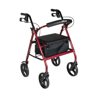 Drive Medical Aluminum Rollator with Removable Wheels, Red