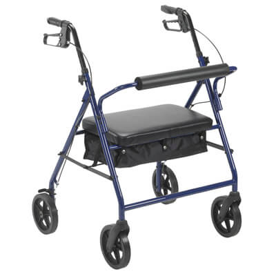 Drive Medical Bariatric Rollator with 8 in Wheels Blue - Model 10216BL-1