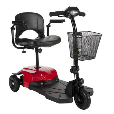 Drive Medical Bobcat X3 3 Wheel Compact Power Scooter, Red - Model BOBCATX3