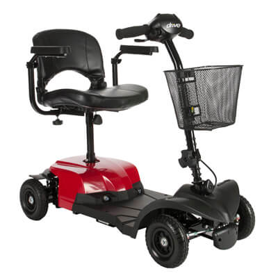 Drive Medical Bobcat X4 4 Wheel Compact Power Scooter, Red - Model BOBCATX4