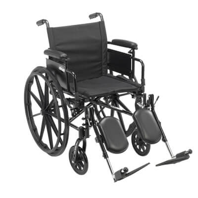 Drive Medical Cruiser X4 Wheelchair with Desk Arms, Elevating Leg Rests, 18 in Seat - Model cx418adda-elr