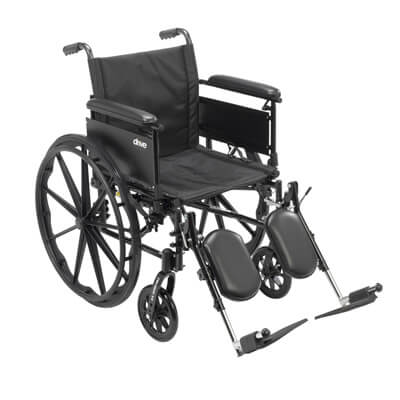 Drive Medical Cruiser X4 Wheelchair with Full Arms, Elevating Leg Rests, 20 in Seat - Model cx420adfa-elr