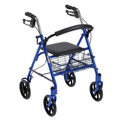 Drive Medical Durable 4 Wheel Rollator with Back Support, Blue - Model 10257BL-1