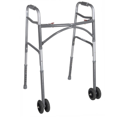 Drive Medical Heavy Duty Bariatric Two Button Walker with Wheels 10220-1WW
