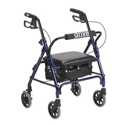 Drive Medical Junior Rollator with Padded Seat, Blue 301psbn