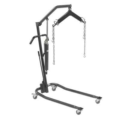 Drive Medical Low Hydraulic Patient Lift with Six Point Cradle and 3 in Casters Silver - 13023SVLB