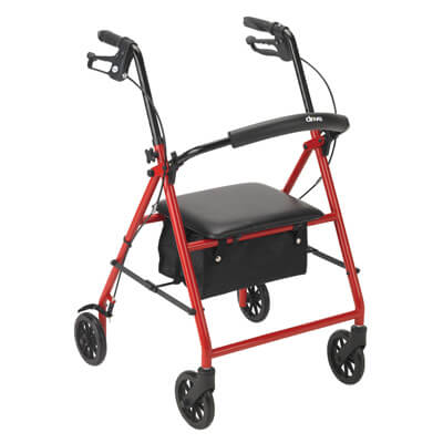 Drive Medical Rollator with 6 in Wheels Red - R800RD
