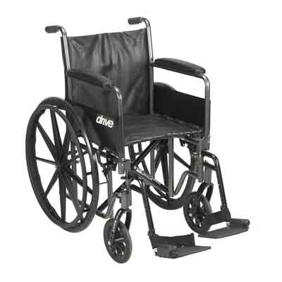 Drive Medical Silver Sport 2 Wheelchair, Detachable Full Arms, Swing away Footrests, 16 Seat ssp216dfa-sf