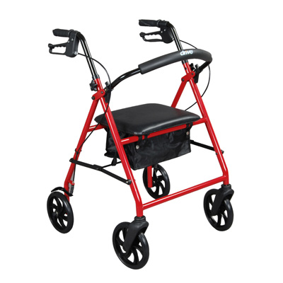 Drive Medical Steel Walker Rollator with 8 Wheels Red R900RD