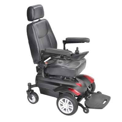 Drive Medical Titan Transportable Front Wheel Power Wheelchair Full Back Captain's Seat 16 x 18