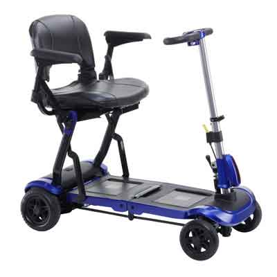 Drive Medical ZooMe Flex Ultra Compact Folding Travel 4 Wheel Scooter, Blue flex