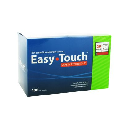 Easy Touch 29 Gauge 5/16 in (8 mm) Safety Pen Needles - 100 ea - 829836