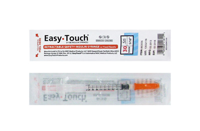 Easy Touch 30 Gauge 0.5 cc 5/16 in Retractable Insulin Safety Syringe w/ Fixed Needle 1 ea 863056 Expires March 2018