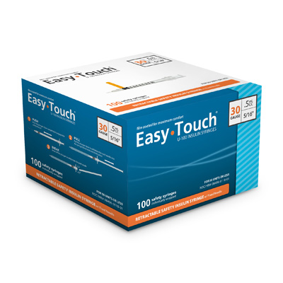 Easy Touch 30 Gauge 0.5 cc 5/16 in Retractable Insulin Safety Syringe w/ Fixed Needle 100 ea Expires March 2018
