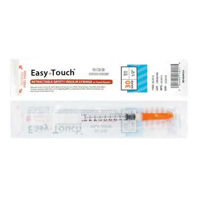 Easy Touch 30 Gauge 1 cc 1/2 in 1 ea Retractable Insulin Safety Syringe w/ Fixed Needle 863015 Expires March 2018