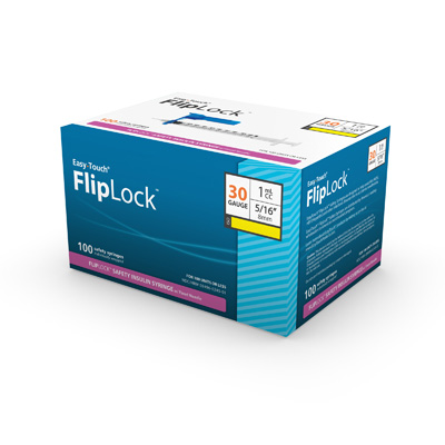 Easy Touch FlipLock Safety Insulin Syringe w/ Fixed Needle 100ct 30G 1 mL 8mm, 5/16 in 823016