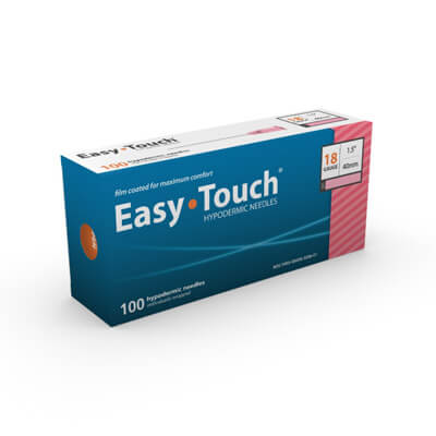 Easy Touch Hypodermic Needle - 18 Gauge 1.5 in (40 mm), 100 ct - 801807