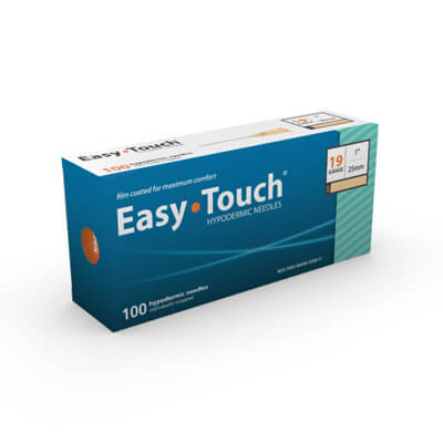 Easy Touch Hypodermic Needle - 19 Gauge 1 in (25 mm), 100 ct - 801901