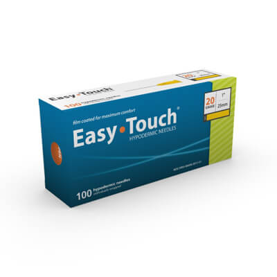 Easy Touch Hypodermic Needle 100ct 20G  25mm, 1 in 802001