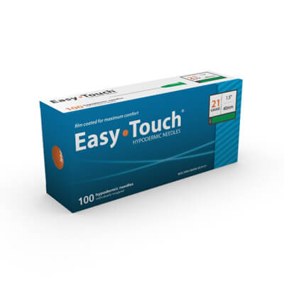 Easy Touch Hypodermic Needle - 21 Gauge 1.5 in (40 mm), 100 ct - 802107