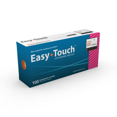 Easy Touch Hypodermic Needle - 22 Gauge 1 in (25 mm), 100 ct - 802201