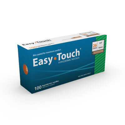 Easy Touch Hypodermic Needle - 26 Gauge 5/8 in (16 mm), 100 ct - 802600