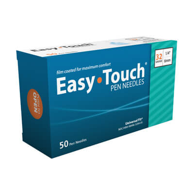 Easy Touch 32 Gauge, 1/4 in 6mm Pen Needles - 50 ea