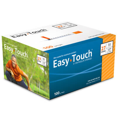 Easy Touch 27 Gauge 1 cc 1/2 in Insulin Syringes - 100 ea