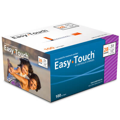 Easy Touch 28 Gauge 0.5 cc 1/2 in Insulin Syringes - 100 ea