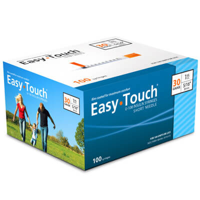 Easy Touch 30 Gauge 1 cc 5/16 in Insulin Syringes - 100 ea