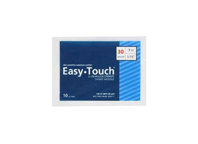 Easy Touch 30 Gauge 0.3 cc 5/16 in Insulin Syringes - 10 ea Model 830365