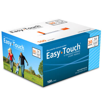 Easy Touch 30 Gauge 0.5 cc 5/16 in Insulin Syringes - 100 ea