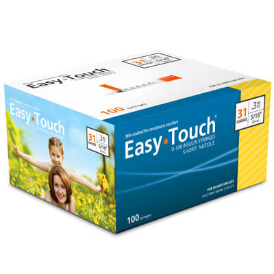 Easy Touch 31 Gauge 0.3 cc 5/16 in Insulin Syringes - 100 ea