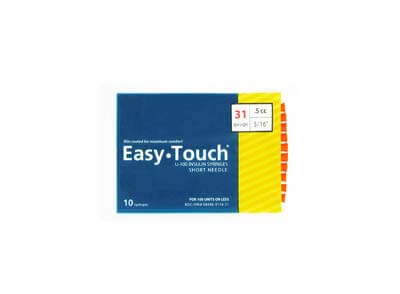 Easy Touch 31 Gauge 0.5 cc 5/16 in Insulin Syringes - 10 ea 831565